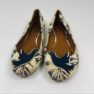 Tory Burch Sparrow Appliqué Floral Print Ballet